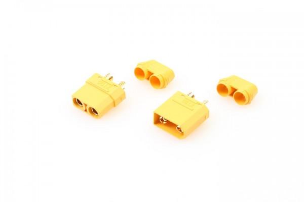 XT90 Goldverbinder 4mm Stecker + Buchse mit Kabelführung