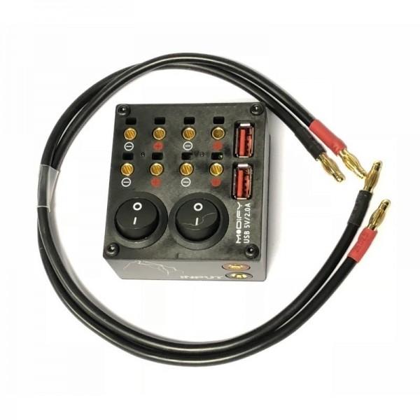 12V Verteiler für 4mm Stecker und USB