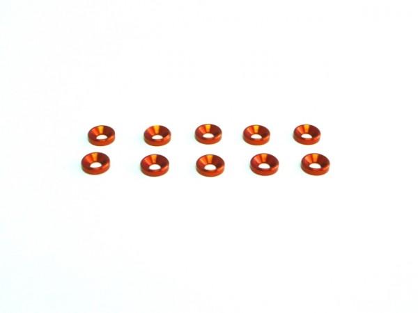 Aluminium M3 Unterlegscheibe konisch Orange
