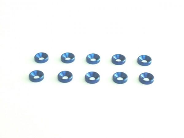 Aluminium M3 Unterlegscheibe konisch blau