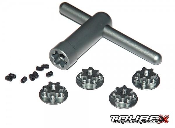 Gesicherte Radmuttern M6 Aluminium & Werkzeug